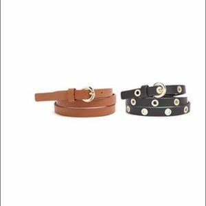 Skinny faux leather belt set